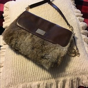 Michal Kors fur and brown leather bag